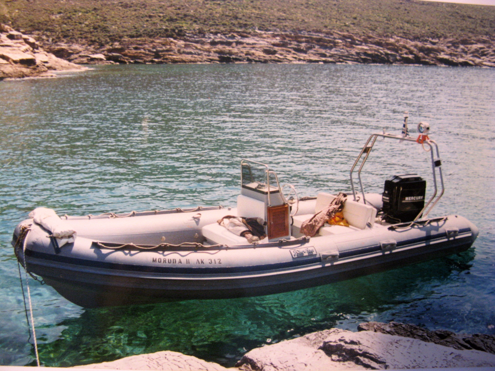 """""""MORUDA II"""" was a fun easy to handle RIB that offered to us many nice outings exploring the island of Kea were she was based."""