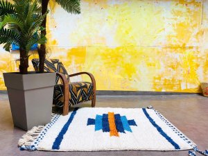 Small colorful Moroccan rug 4x5 - Moroccan square tribal Beni ourain rug