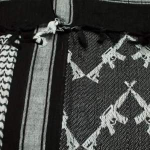 Crossed Rifle Shemagh Scarf in White/Black