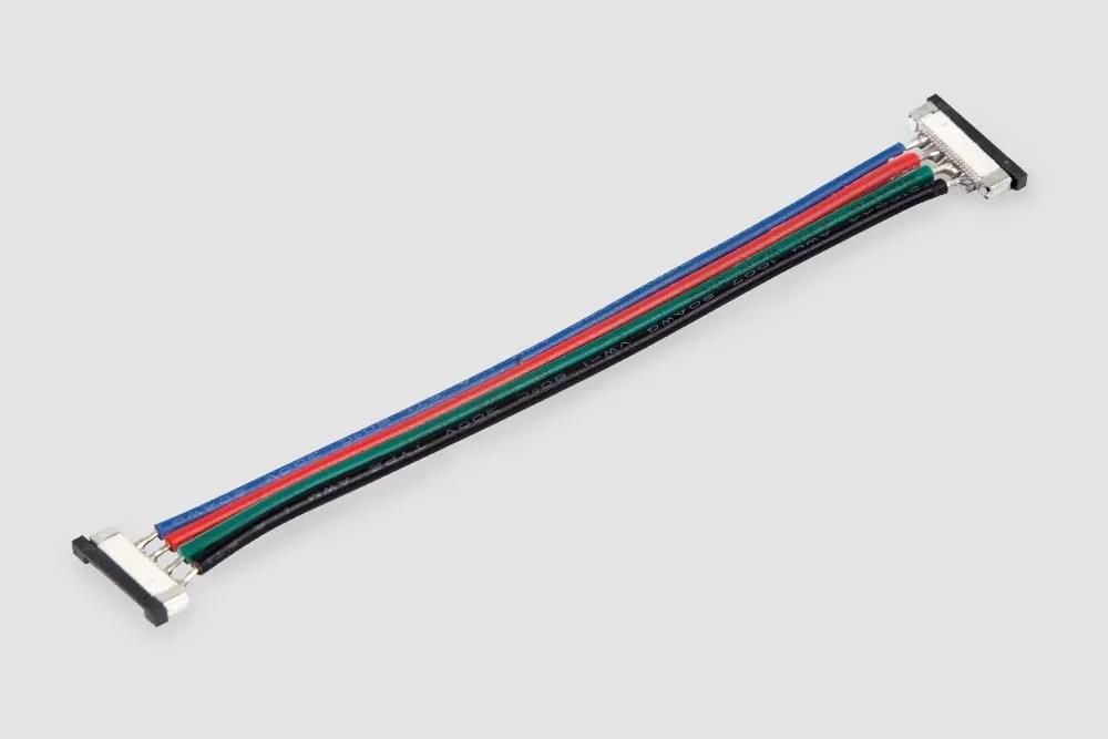 Złączka slim do taśmy LED RGB dwustronna z przewodem