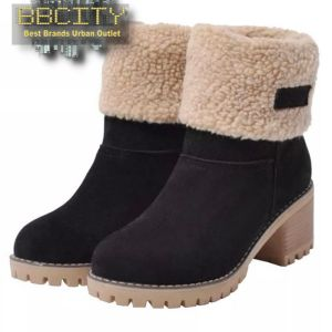 Woman Plush Boots Warm Comfortable Casual Snow Boots Round Toe 2020 Winter Mid Heel Boots Ladies Mid-Calf Boots