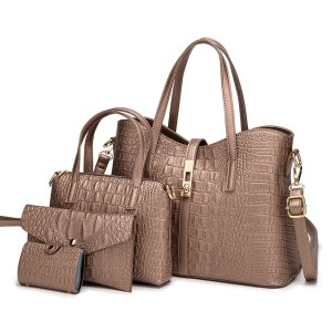 Woman bag set 4 pieces crocodile embossed pattern PU leather.