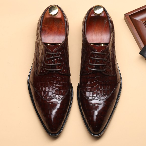Men genuine leather shoes Italian style premium quality crocodile pattern business formal dress shoes