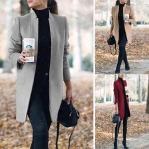 Woman wool coat long warm elegant winter woman coat female plus size