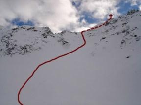 Abfahrt direkt vom Gipfel