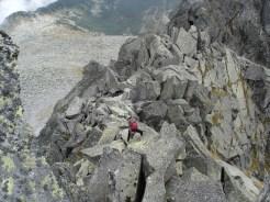 Unangenehme Gratkletterei nach dem Gipfel