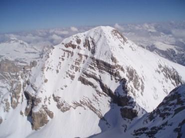 Tofana di Dentro (rechts Aufstiegsgrat und links Abfahrtswand)
