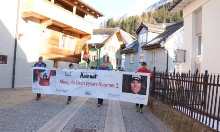 Grossartiger Empfang vom Alpin Goldkind Aline in Andermatt