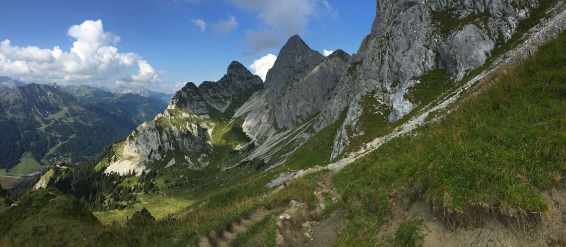 Abstieg zum Gimpelhaus - Panoramablick