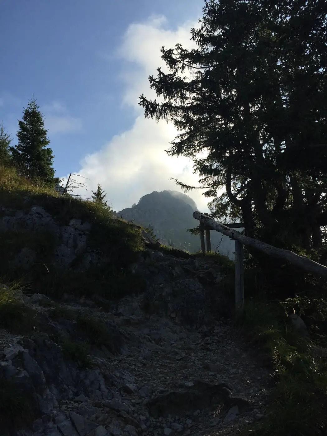 Kurz vor dem Gimpelhaus mit Blick zur Kellenspitze