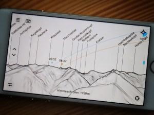 Oberstdorfer Bergpanorama in der PeakFinder-App