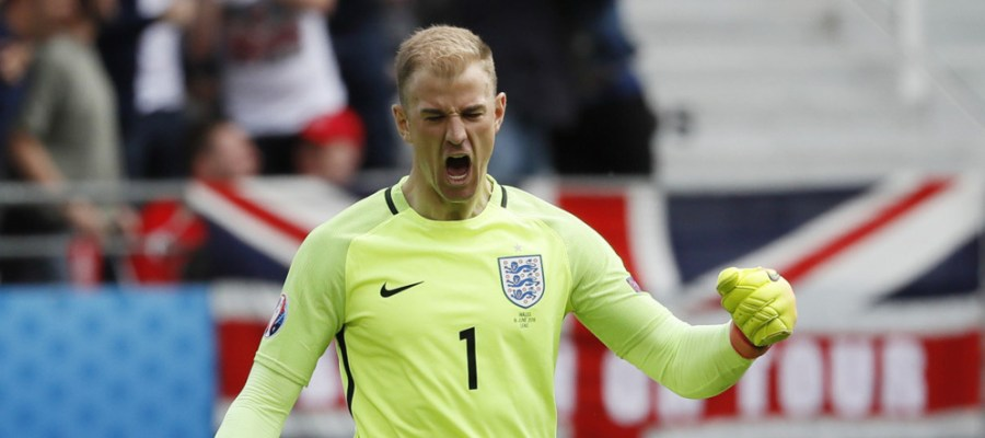 Football Soccer - England v Wales - EURO 2016 - Group B - Stade Bollaert-Delelis, Lens, France - 16/6/16 England's Joe Hart celebrates their first goal    REUTERS/Gonzalo Fuentes Livepic