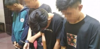 Keempat pelajar yang diamankan. (BERITA.NEWS/Abdul Kadir).