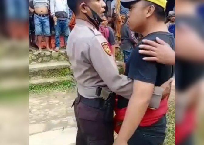 Pelaku yang melawan petugas saat pembubaran judi sabung ayam di Toraja Utara