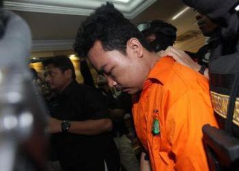 Haris Simamora, tersangka pembunuh satu keluarga di Bekasi.