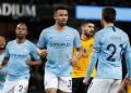 Para pemain City lakukan selebrasi usai menang 3-0 atas Wolvrhampton.