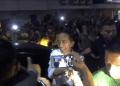 Presiden Jokowi saat disambut ribuan Santri.