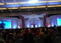 Presiden Jokowi saat pidato di puncak HPN 2019 di Surabaya.