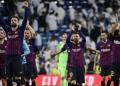 Para pemain Barca usai kalahkan Real madrid di Bernabeu.