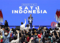 Calon Presiden nomor urut 01 Joko Widodo menyampaikan sambutan saat menghadiri Festival Satu Indonesia di Istora Senayan, Jakarta, Minggu (10/3/2019). Foto: ANTARA