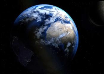 Ilustrasi bumi dan bulan.