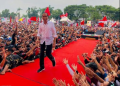 Jokowi saat kampanye di Tegal.