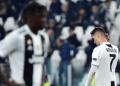 Ekspresi Ronaldo usai timnya dikalahkan Ajax Amsterdam.