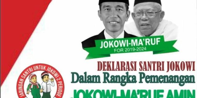 Ribuan Santri Akan Deklarasikan Dukungan Terhadap Jokowi dan Ma'ruf Amin