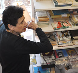 William Saroyan's niece, Jacqueline Kazarian, surveys materials at his San Francisco home