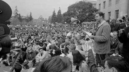 Sproul Plaza December, 1964, Free Speech Movement. Photo courtesy of Robert W. Klein/AP