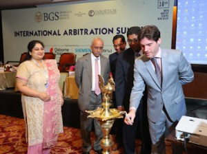 Aubin Lapos Chairman of Berkeley Global Society opening the ceremony for the International Arbitration Summit in India