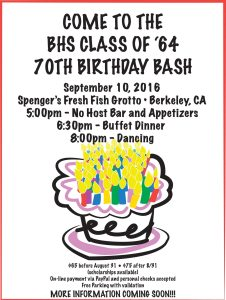 Invitation to BHS Class of '64 70th Birthday Bash