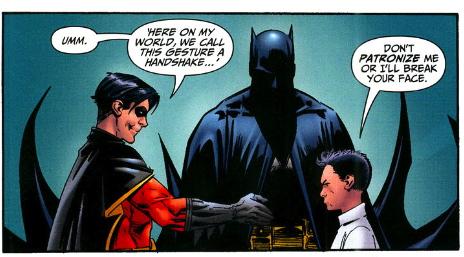 Tim and Damian shake hands