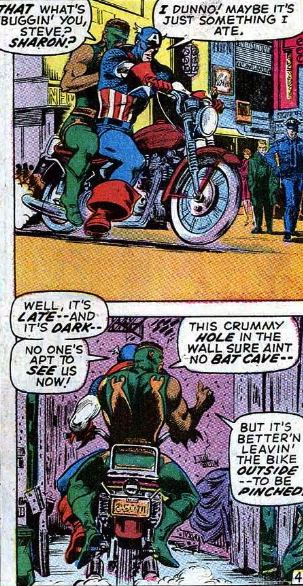 captain america and the falcon on a motorcyle