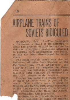The newspaper scraps associated with the McKittrick collection offer glimpses into events around the time of the fossil excavations, circa 1930. This scrap reports a failed attempt by Soviets to build a faster train using airplane propellers. Copyright UCMP