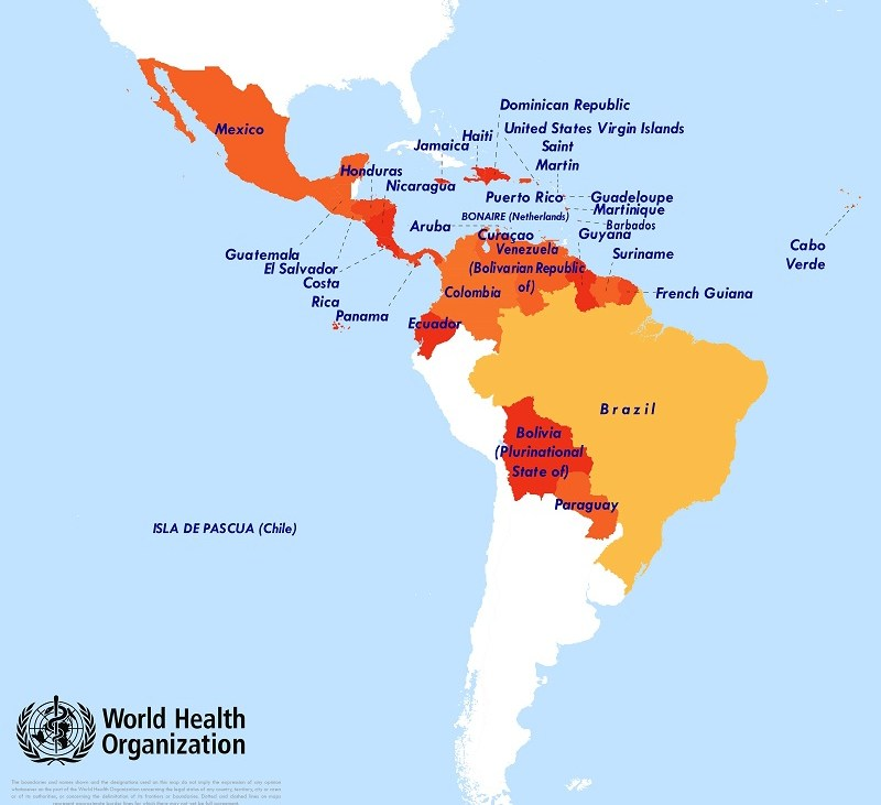 Countries with confirmed Zika outbreaks as of February 19, 2016 (http://www.who.int/emergencies/zika-virus/situation-report/19-february-2016/en/) An interactive map can be found at :http://ais.paho.org/phip/viz/ed_zika_countrymap.asp.