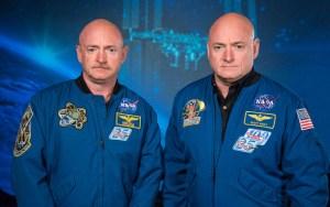 Twins Mark (left) and Scott (right) Kelly at the Johnson Space Center, Houston. [Public Domain] via Wikimedia Commons.