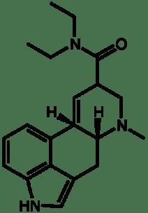 Molecular structure of lysergic acid diethylamide (LSD).
