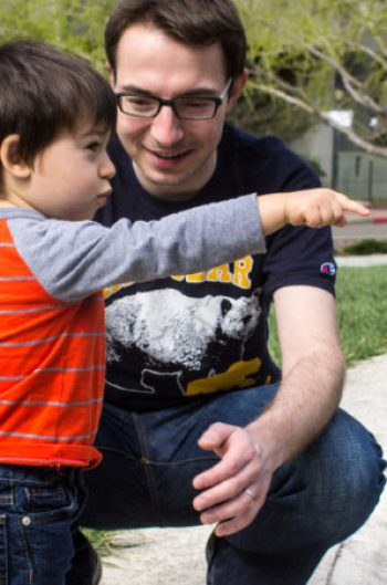 Michal Olszewski with his son. Image: Daniel Lurie