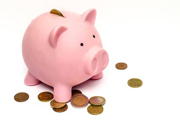 A pink Piggy Bank with coins around it