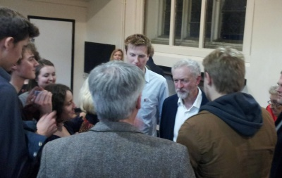 Jeremy Corbyn speaks to his supporters at the fundraising dinner. Photo: Iain Walker