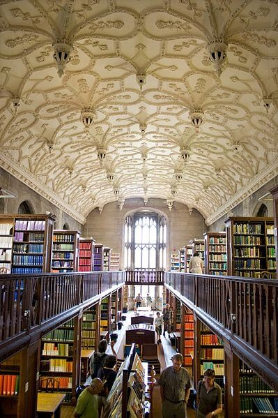 The Wills Memorial Library -dominated by an intricately designed ceiling.