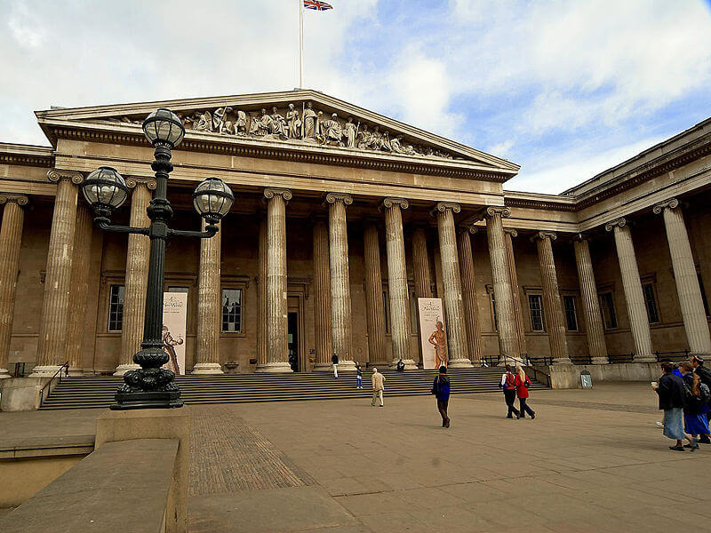 The Greek Revival style of the main entrance to The British Museum.