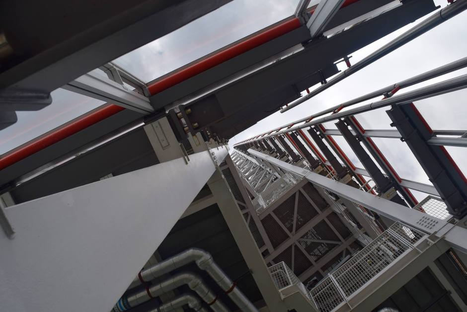 The internal structure of The Shard's spire, looking up from the 72nd floor.