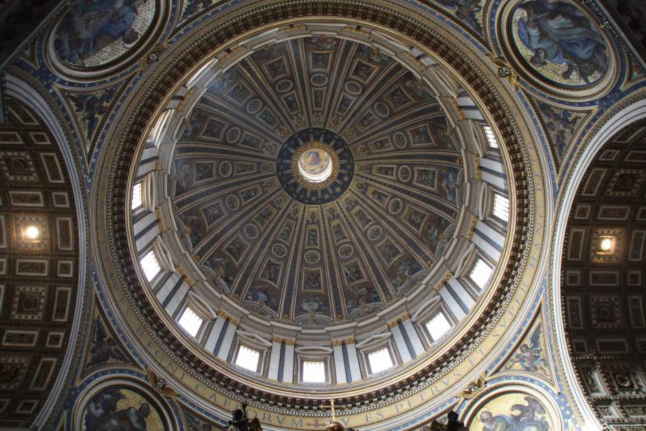 Looking up to Wren's magnificent dome at the heart of St Pauls Cathedral.