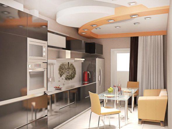 дизайн кухни 10 метров с балконом 3