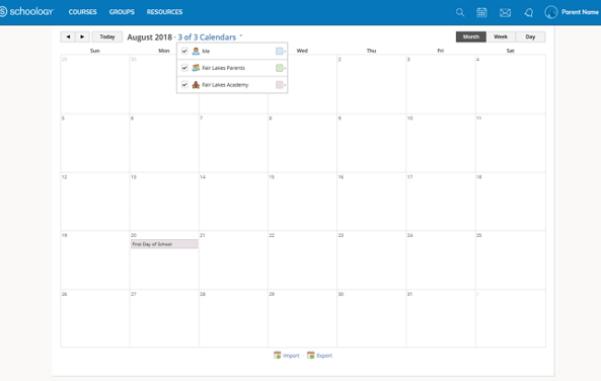 Schoology Calendar Preview