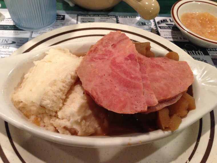 Schnitz und Knepp - apples and dumplings topped with ham