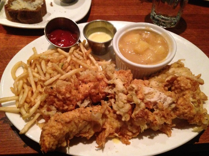 Texas tenders and fries from Austin's: delicious, but not fine dining