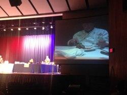Chef Mike Kratz samples the winning dish from Chef Josh Haines.
